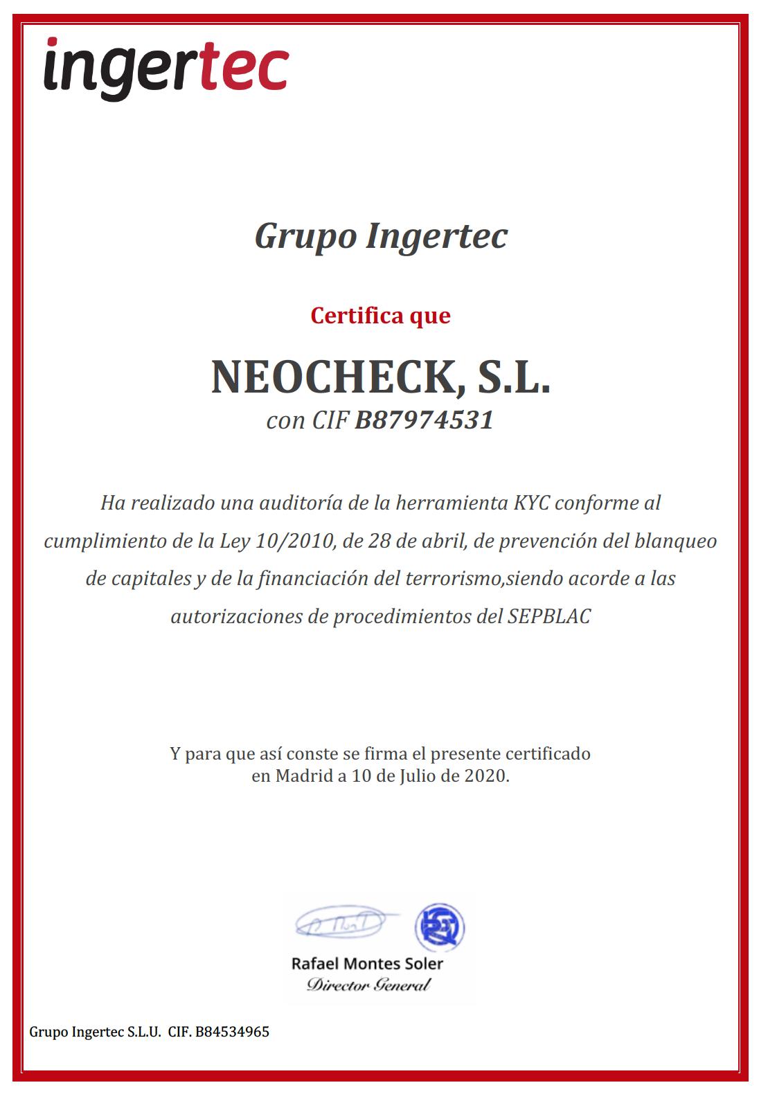Certificación SEPBLAC